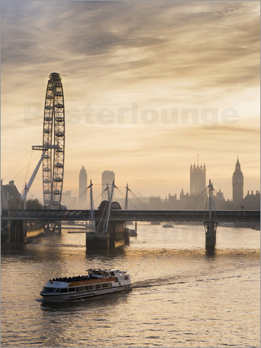 Poster Millenium Wheel with Big Ben, London, England