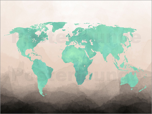 Poster Mint Watercolor Map
