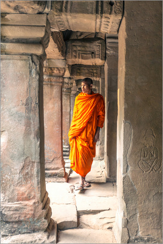 Matteo Colombo - Monk walking inside Agkor Wat temple, Cambodia