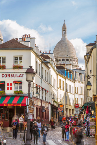 matteo colombo montmartre street view with sacre coeur paris france poster posterlounge. Black Bedroom Furniture Sets. Home Design Ideas