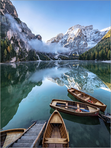Poster Early morning on Lake Braies - Dolomite Alps Italy