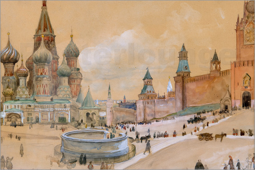 Poster Moscow (Kremlin and St. Basil's Cathedral)