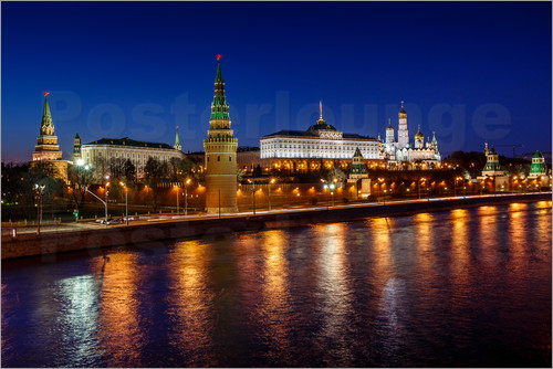 Poster Moscow Kremlin and Vodovzvodnaya tower at night