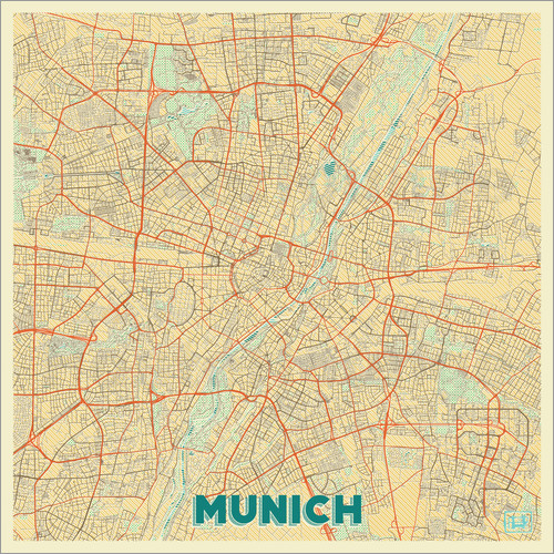 Poster Munich Map Retro