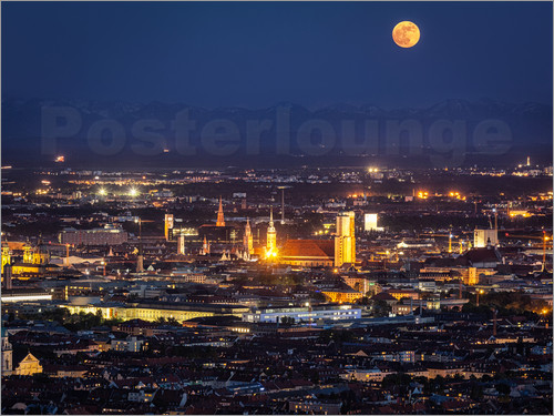 Poster Munich Skyline with yellow full moon