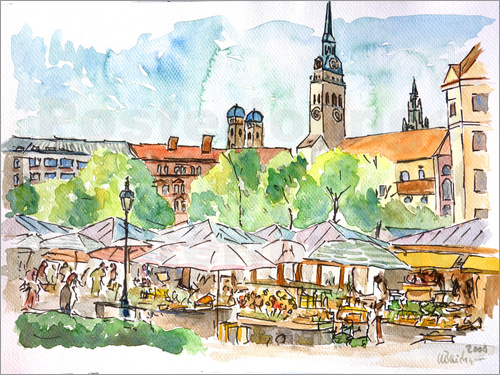 Poster Munich Food Market Square Day in Summer Aquarell