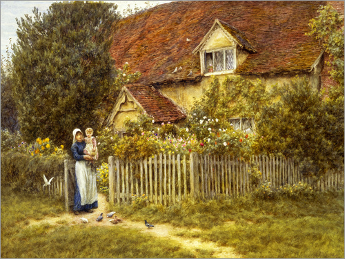 Helen Allingham - Mother and child on lodge