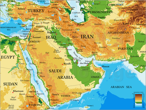 Middle East - Topographic Map