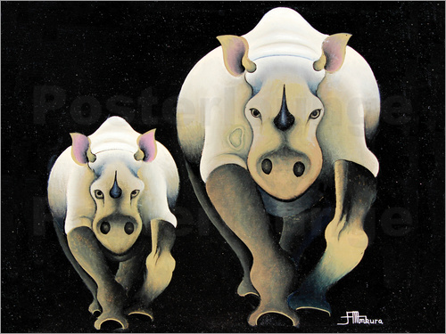 Poster Rhino Mother and Child