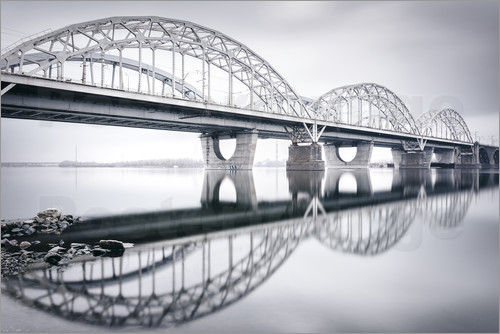 Poster New Darnytskyi bridge in Kiev in winter