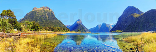 Poster New Zealand Milford Sound Panorama