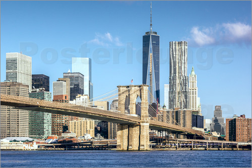 Poster New York: Brooklyn Bridge and World Trade Center