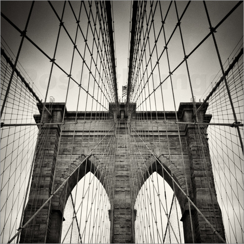 Poster New York City - Brooklyn Bridge (Analogue Photography)