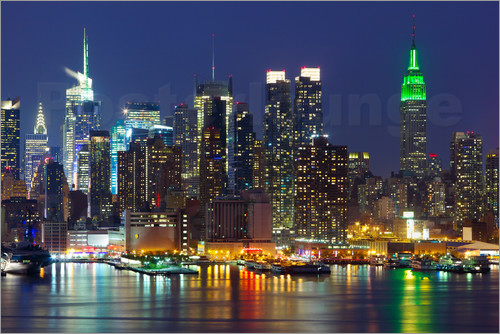 Poster New York City at night over Hudson river
