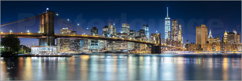 Poster New York City Skyline with Brooklyn Bridge (panoramic view)
