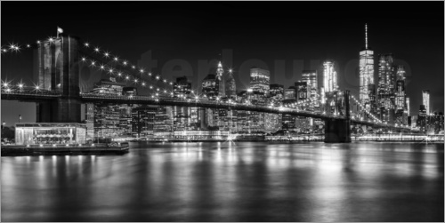 Melanie viola night skylines new york ii black and white poster