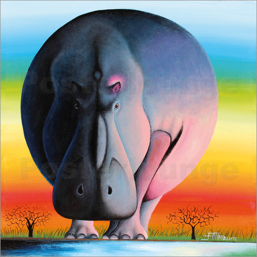 Poster Hippo at dusk