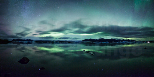 Matteo Colombo - Northern Lights Panorama Jokulsarlon