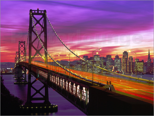 Poster Oakland Bay Bridge and San Francisco Skyline