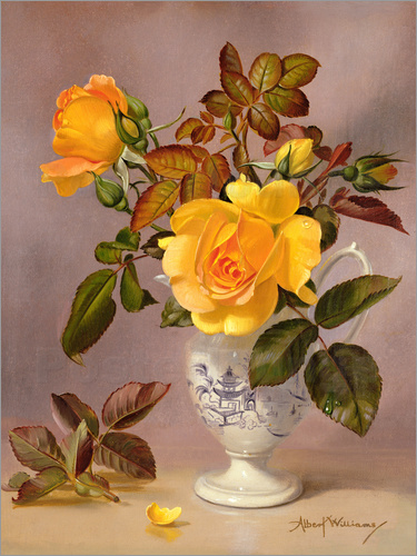 Albert Williams - Orange Roses in a blue and white jug