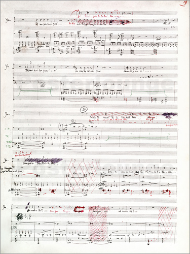 Page of musical manuscript by Claude Debussy