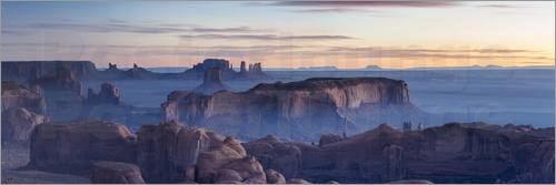 Poster Panoramic sunrise over Monument Valley Tribal park, Arizona, USA