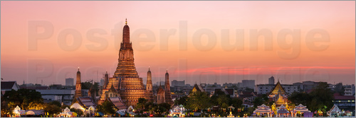 Poster Panoramic of Wat Arun temple at sunset, Bangkok, Thailand