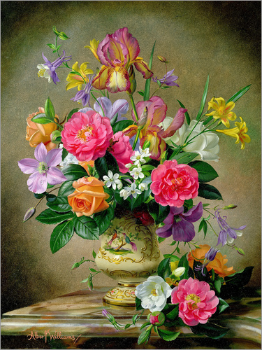 Poster Peonies and irises in a ceramic vase