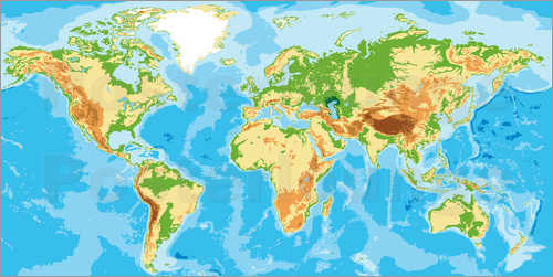 Physical world map posterlounge envo gratis pster physical world map gumiabroncs Choice Image