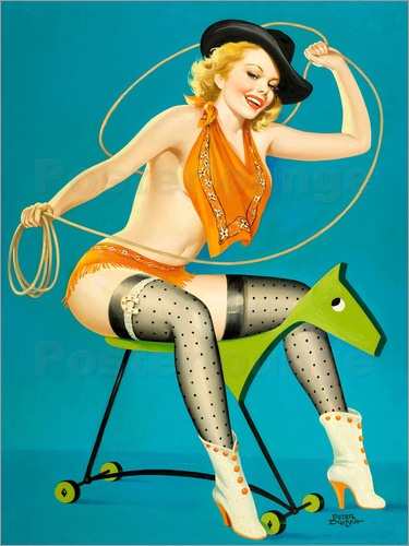 Poster Pin Up - Roping the Horse