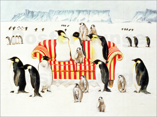Poster Penguins on a sofa