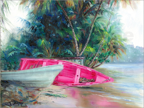 Poster pink boat on side