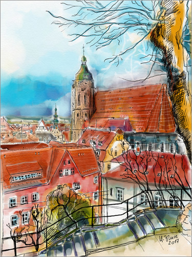 Hartmut Buse - Pirna, View to the Church of St. Mary