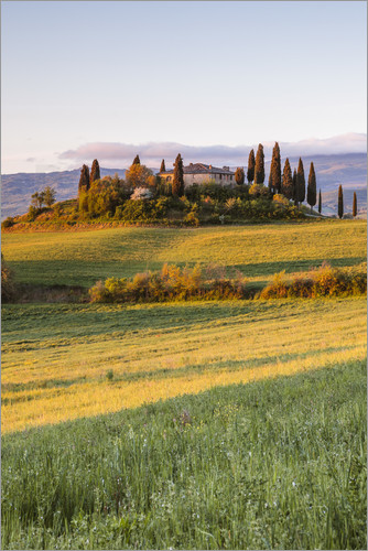 Poster Podere Belvedere at sunrise, Tuscany, Italy