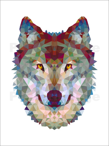 Poster Polygon Wolf