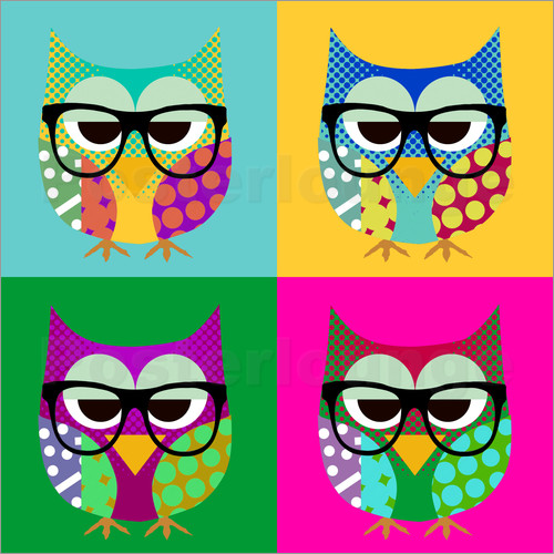 greennest pop art owls poster posterlounge. Black Bedroom Furniture Sets. Home Design Ideas
