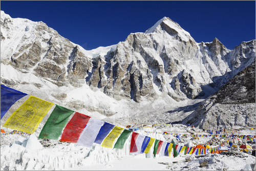 Christian Kober - Prayer flags at Everest Base Camp, Solu Khumbu Everest Region, Sagarmatha National Park, UNESCO Worl