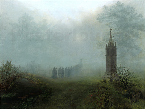 Ernst Ferdinand Oehme - Procession in the fog