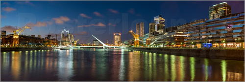 Poster Puente de la Mujer (Bridge of the Woman) at dusk, Puerto Madero, Buenos Aires, Argentina, South Amer