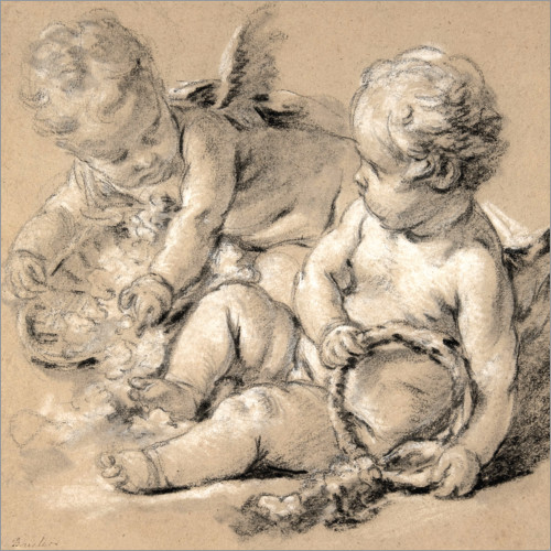 François Boucher - Winged Putti with Flowers