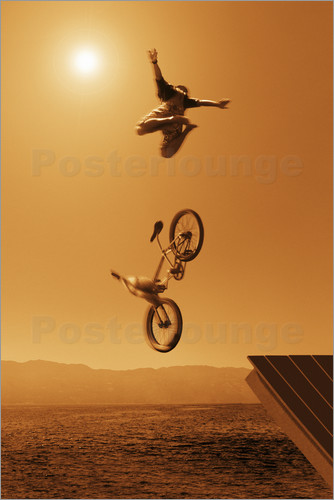 Poster Cyclist Going Off Jump Into Water In Brown Tones