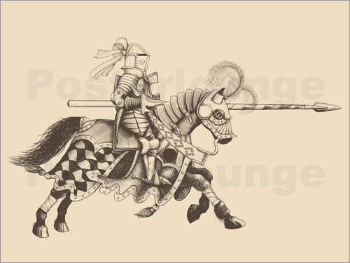 Knight with armor and horse