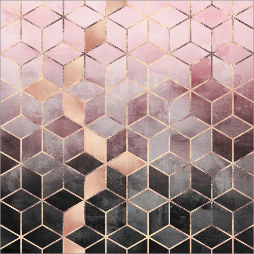 Elisabeth Fredriksson - Pink And Grey Gradient Cubes