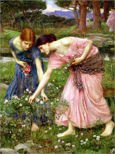 John William Waterhouse - Rose picking in May
