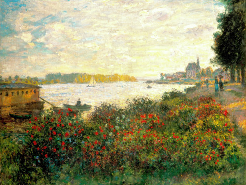 Poster Red flowers on the banks of the Seine at Argenteuil
