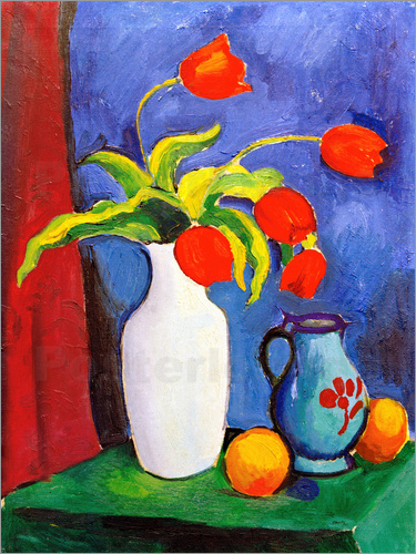 Poster Red tulips in white vase