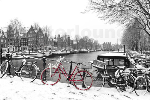 Poster Red bicycle in the snow