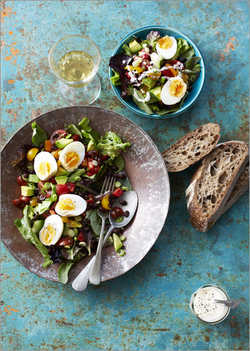 Poster Salad with boiled eggs, beans and black bread