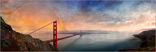Poster San Francisco Golden Gate with rainbow