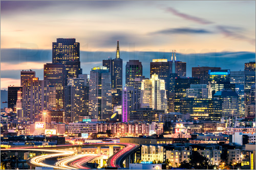 Poster San Francisco downtown district skyline at night, California, USA